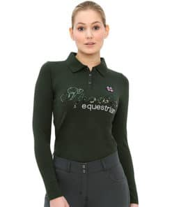 Spooks Roxie sequin Longsleeve Polo dark forest
